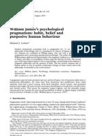Lawler, Michael S - William James's psychological pragmatism - habit, belief and purposive human behaviour