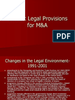 Current Legal Provisions for M&A