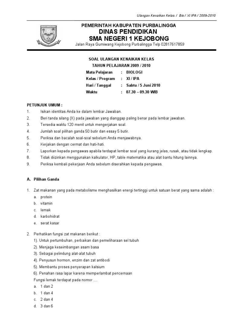 82530088 Soal Uas Biologi Kelas Xi Sma