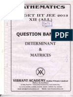 Question Bank on Determinants & Matrix
