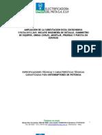 ESPECIFICACIONES - INTERRUPTOR 115kV