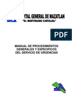 MANUAL DE PROCEDIMIENTOS GENERALES Y ESPECIFICOS DEL SERVICIO DE URGENCIAS MEDICAS