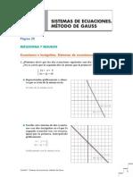 T1 Sistemas Ecuaciones Metodo Gauss solucionario matematicas 2 bach anaya