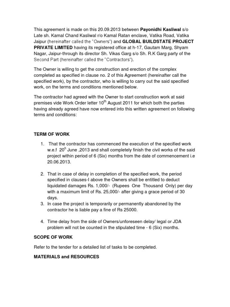 Agreement For Vatika Independent Contractor Labour Economics