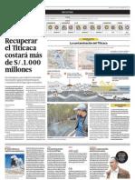 Recuperar el Titicaca costaría más de 1,000 millones de soles