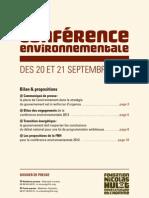 Dossier de presse de la Fondation Nicolas Hulot pour la conférence environnementale 2013
