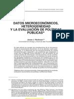 Datos microeconomicos, heterogeneidad y la evaluación de políticas públicas (Heckman J., 2003)