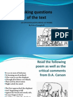 Asking Questions of the Text 1