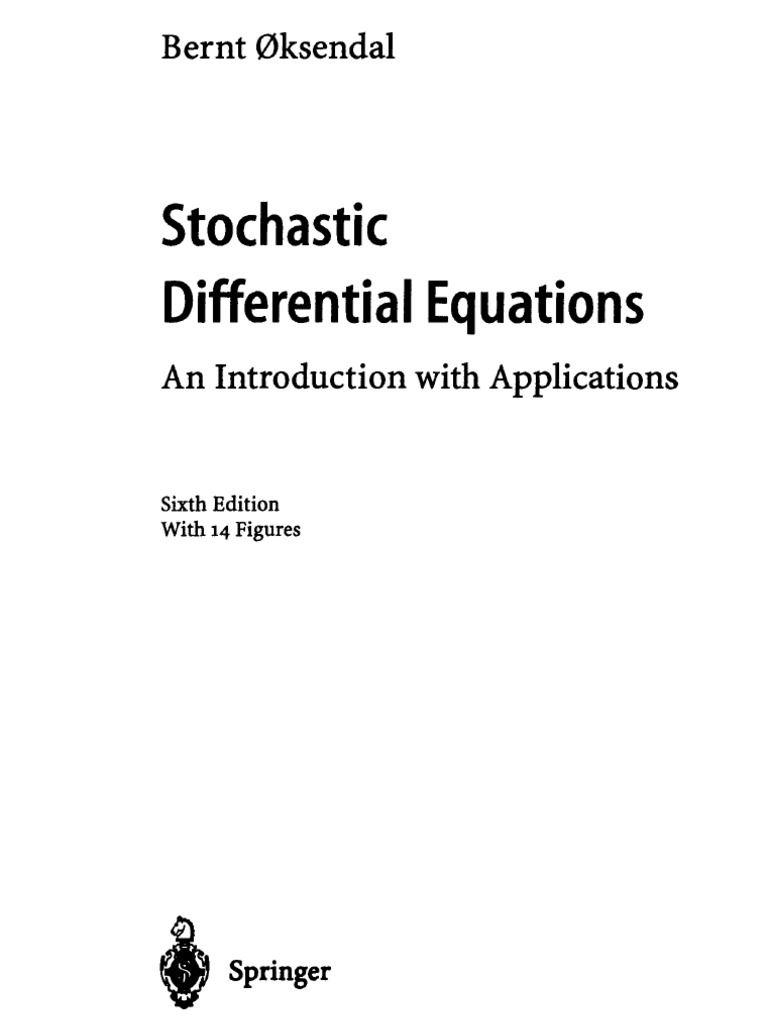 oksendal bernt stochastic differential equations an introduction rh scribd com  stochastic differential equations oksendal solution manual