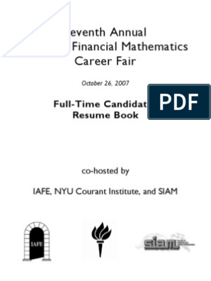 FullTime_QUant_ Sample ResumeBook | Financial Modeling