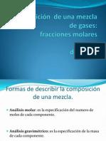 Composición  de una mezcla de gases fracciones molares