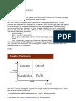 Supplier Relationship Matrix