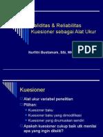 Validitas & Reliabilitas Kuesioner