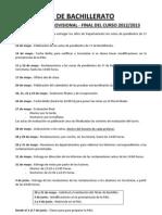 Calendario Provisional-Final 2º BACHILLERATO-Profesores