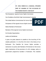 Speech by the Speaker of the Ugandan Parliament at the Launch of the Human Rights Checklist