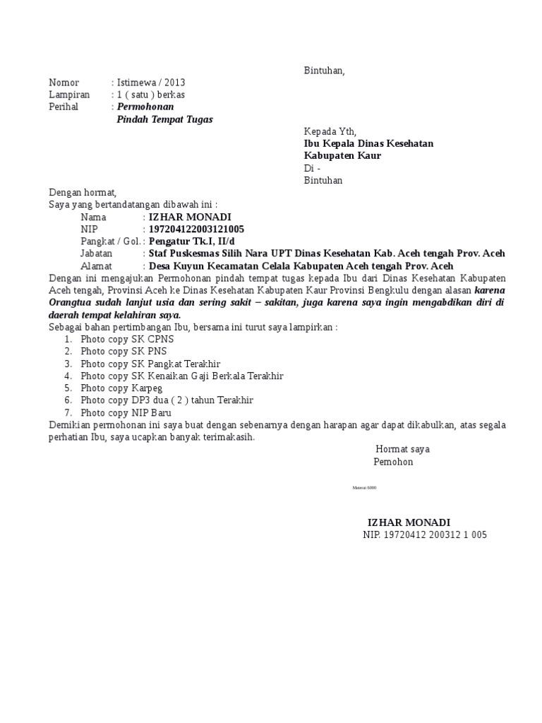 Contoh Surat Permohonan Pindah Tugas