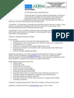 Marketing and Sales Internship Application