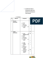 Specification Table