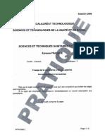 BAC Sciences Et Techniques Sanitaires Et Sociales Pratique 2009 ST2S