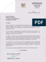 Letter from Syrian Government to the US Speaker of the House John Boehnor