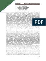 IN PLURIMIS LETTERA ENCICLICA DI SUA SANTITÀ LEONE PP. XIII