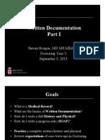 Written Documentation Skills I Fall 2013- Doctoring III