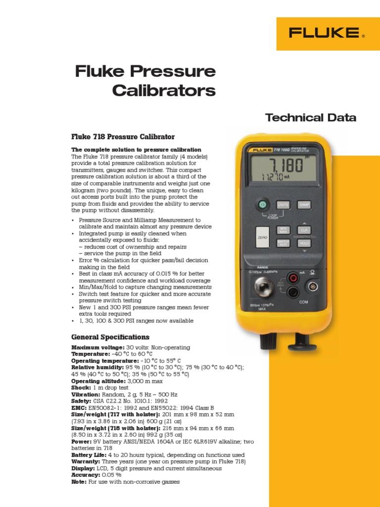 Fluke 717 1500G Pressure Calibrator 1500 PSIG Test, Measure ...