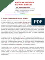 Decadal-Scale Variations In El Nino Intensity