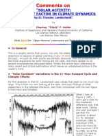 Solar Activity a Dominant Factor In Climate Dynamics - Chick Keller Comments