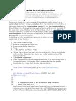 Contractual Term or Representation