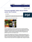 Fruit and Vegetable Intake Reduce Bladder Cancer Risk in Women