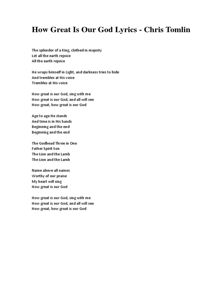 Good Shepherd Music Pool: How Great is Our God - How Great ...  |How Great Is Our God Lyrics