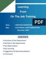 On the Job Training - Presentation_Dec '09