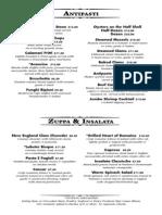 2013-14 Ventano Dinner Menu