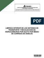 Proy-NRF-311-PEMEX-2012 Limpieza Int de Los Sist de Transp y Recol de Hidroc Por Ducto Por Medio de Corridas de Diablos