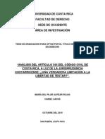 Analisis Del Articulo 595 Del Codigo Civil de Costa Rica, A La Luz de La Jurisprudencia Costarricense.. Una Verdadera Limitacion a La Libertad de Testar