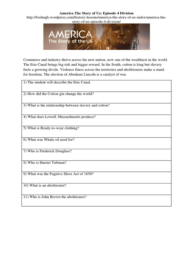 America The Story Of Us Episode 4 Division Worksheet