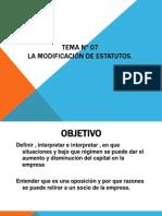 TEMA Nº 07. MODIFICACION DE ESTATUTOS
