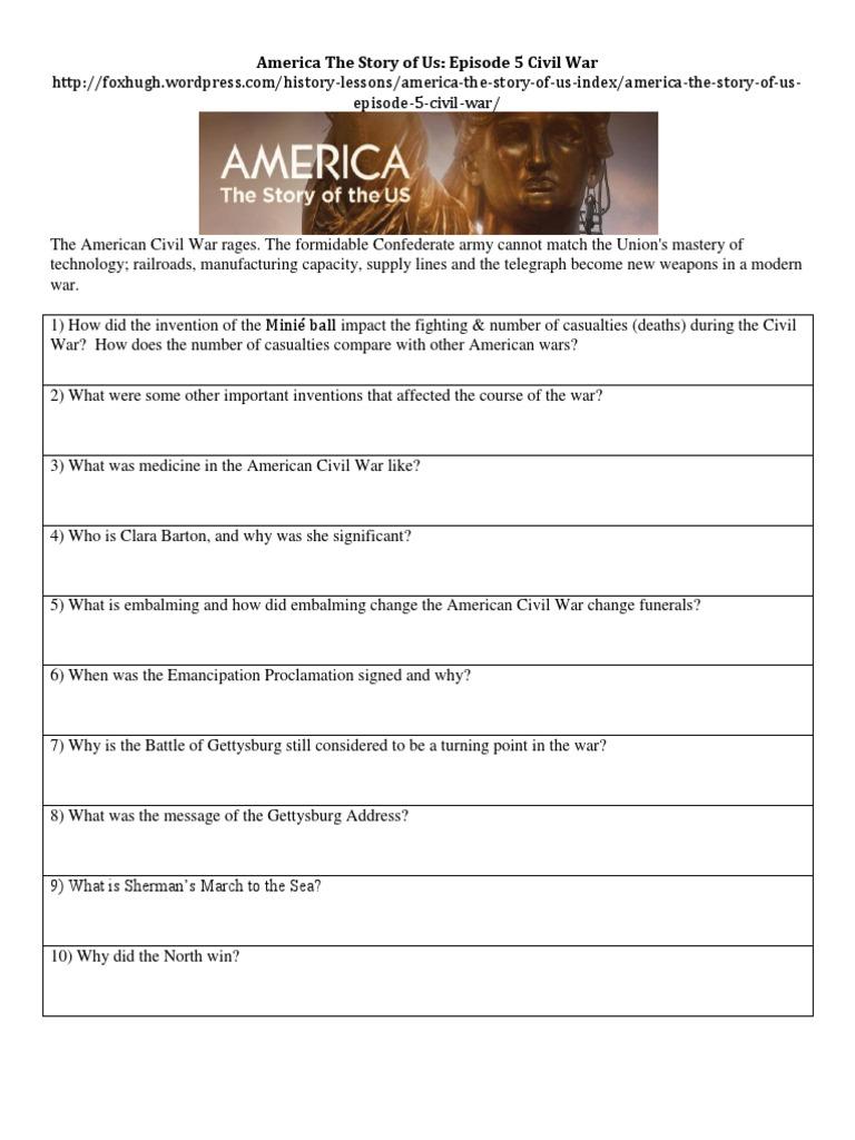 Worksheets Gettysburg Address Worksheet america the story of us episode 5civil war worksheet