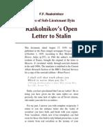 Open Letter to Stalin - F.F. Raskolnikov