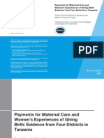 Payments for Maternal Care and Women's Experiences of Giving Birth