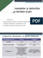 Analiza creanțelor și datoriilor pe TS