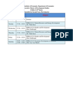 Timetable for EMDevS 10th Batch - 2nd Year 1st Qtr