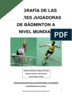 Trabajo de las Biografías de las mejoras jugadoras de Badminton
