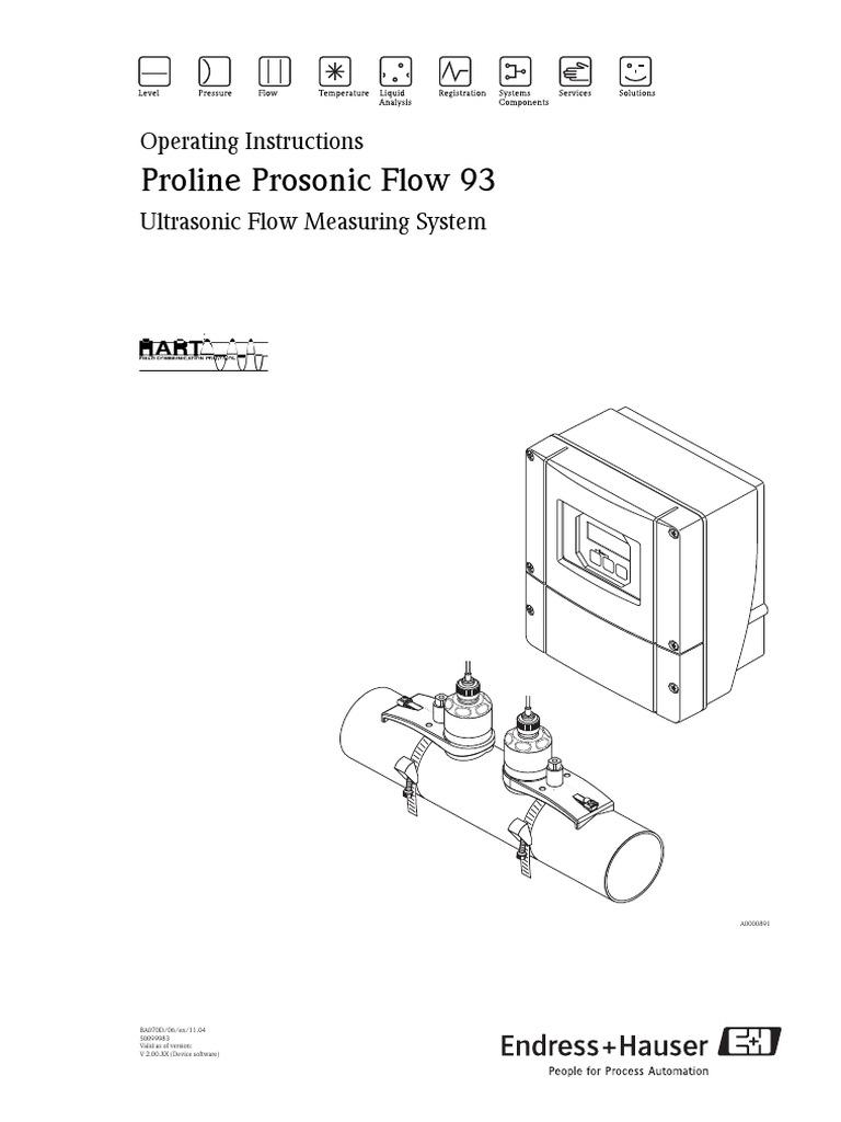 Prosonic 93 Operating Instructions | Screw | Flow Measurement