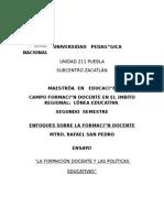 LA FORMACIÓN DOCENTE Y POLÍTICAS EDUCATIVAS
