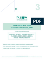 Formula Sheet - New Zealand Level 3 Calculus (2009)
