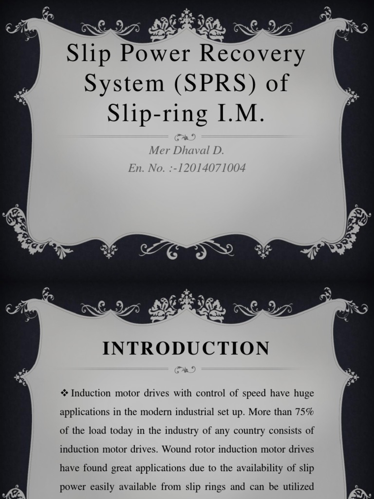 Slip Power Recovery System (SPRS) | Electrical Engineering ...