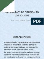 MECANISMOS DE DIFUSIÓN EN LOS SOLIDOS