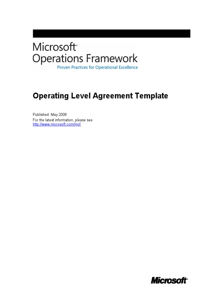 Mof Job Aid Operating Level Agreement Template Trademark Copyright